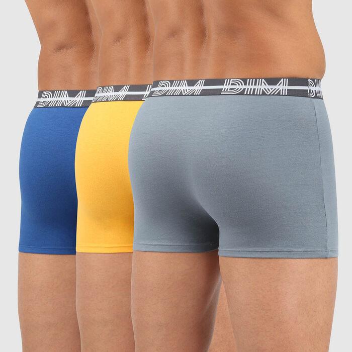 Lot de 3 boxers coton stretch ceinture graphique bleu Dim Powerful , , DIM