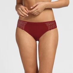 Culotte en dentelle graphique et mesh plumetis rouge Daily Glam Dim, , DIM