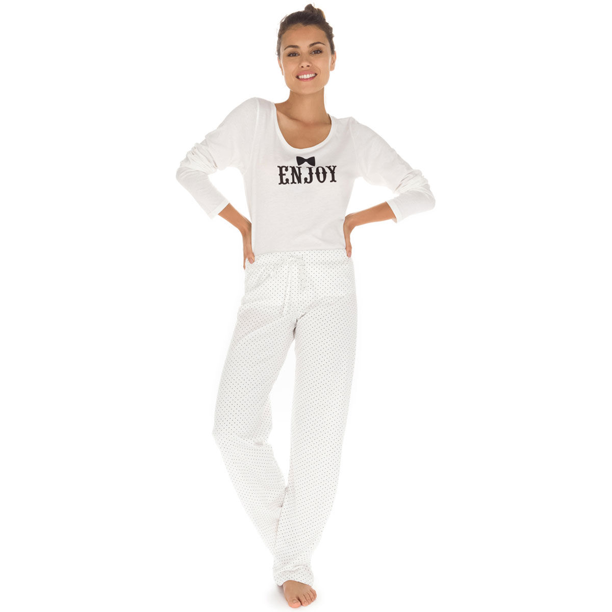 Nacre Plumetis 100Coton Pyjama Femme De Pantalon NOn0PX8wk