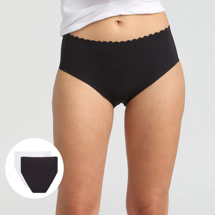 Lot de 2 culottes taille haute coton stretch noir/blanc Body Touch, , DIM