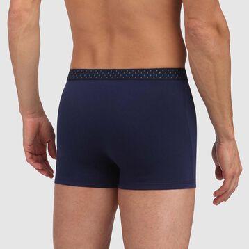 Boxer bleu denim coton stretch ceinture imprimé losange Mix and Fancy, , DIM