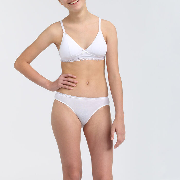 Soutien-gorge fille à mousses amovibles coton stretch Blanc Dim Trendy, , DIM