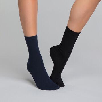2 paires de chaussettes coton noire & bleue - Dim Basic Coton, , DIM