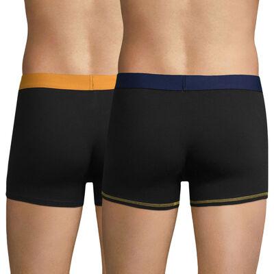 Lot de 2 boxers noirs ceintures jaune  bleue Mix and colors, , DIM