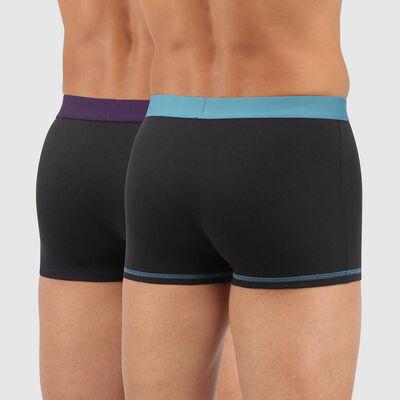 Lot 2 boxers coton ceinture colorée noir vert violet Mix and Colors, , DIM