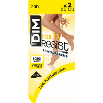 Lot de 2 Mi-Bas brun fumé Beauty Resist 20D-DIM