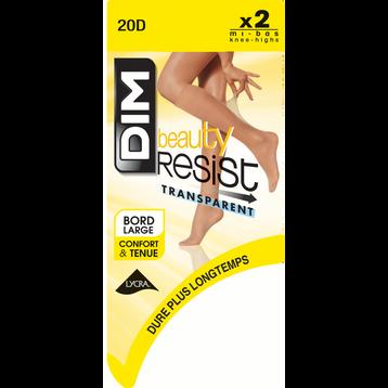 Lot de 2 Mi-Bas brun fumé Beauty Resist 20D, , DIM