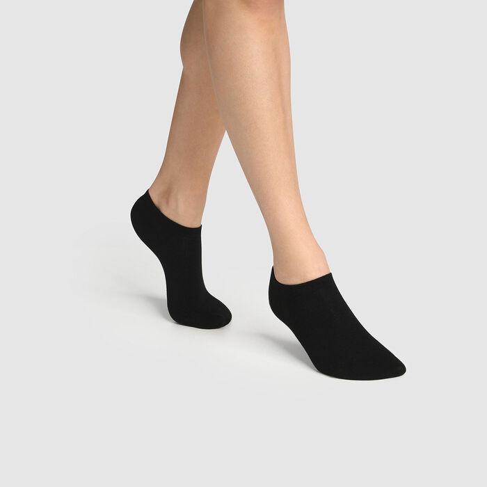 Lot de 2 paires de chaussettes femme basses en coton bio noir Green by Dim, , DIM