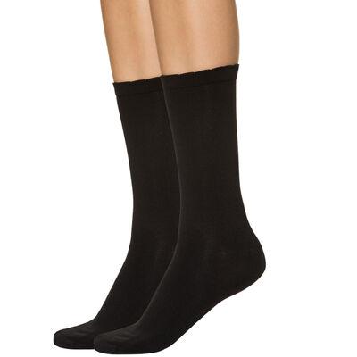 Lot de 2 mi-chaussettes noires seconde peau Femme, , DIM