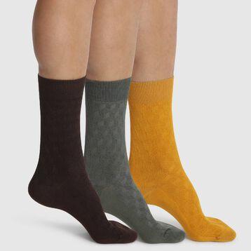 Lot de 3 mi-chaussettes pour homme Marron Mordoré Kaki Coton Style, , DIM