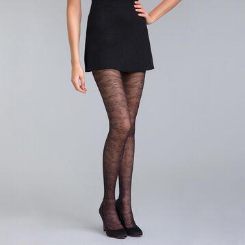 Collant fleur ténébreuse noir 20D  Style-DIM