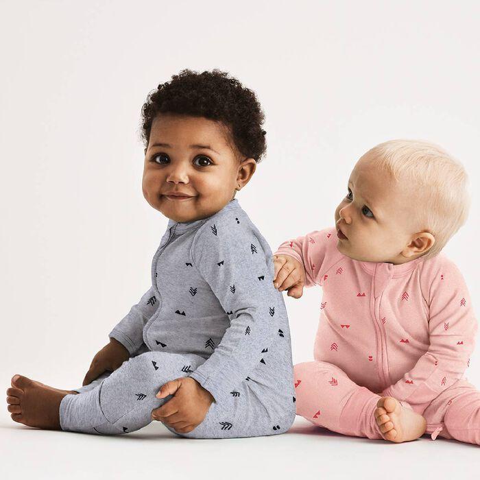Pyjama bébé fille zippé bouclettes imprimé Indien rose DIM Baby, , DIM