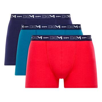 Lot de 3 boxers rouge, bleu antique et bleu marine - Coton Stretch, , DIM