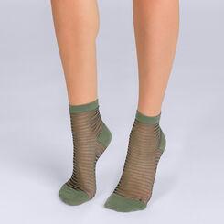Socquettes à rayures kakis Femme Style-DIM