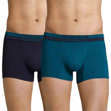 Lot de 2 boxers bleu aquatique et bleu cobalt Soft Touch Pop-DIM