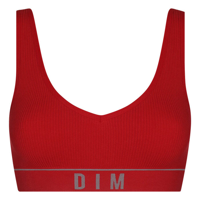 Brassière femme en maille côtelée Rouge Grenade Dim Original Retro, , DIM