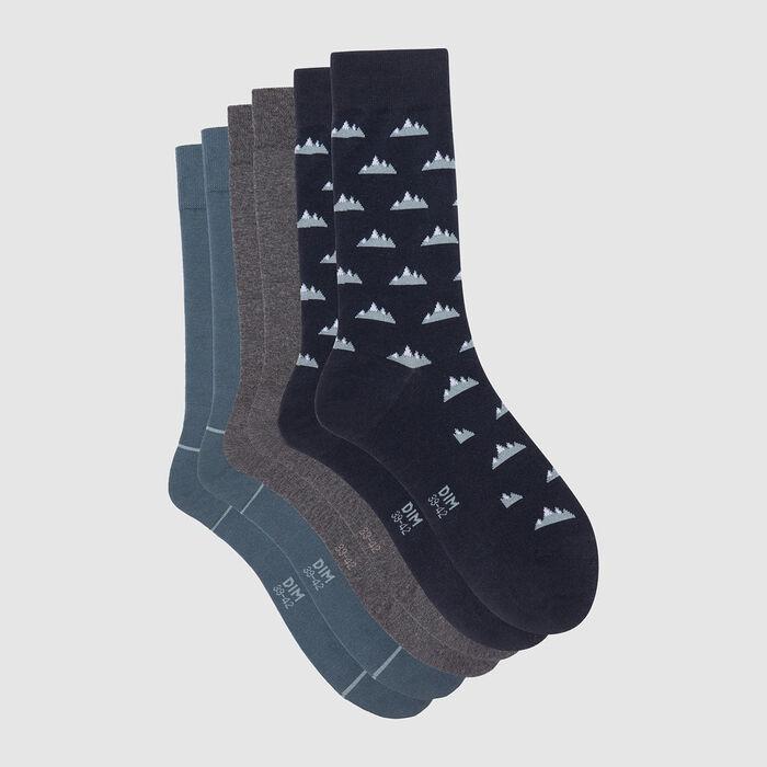 Lot de 3 paires de chaussettes hommes motif montagne Bleu Coton Style, , DIM