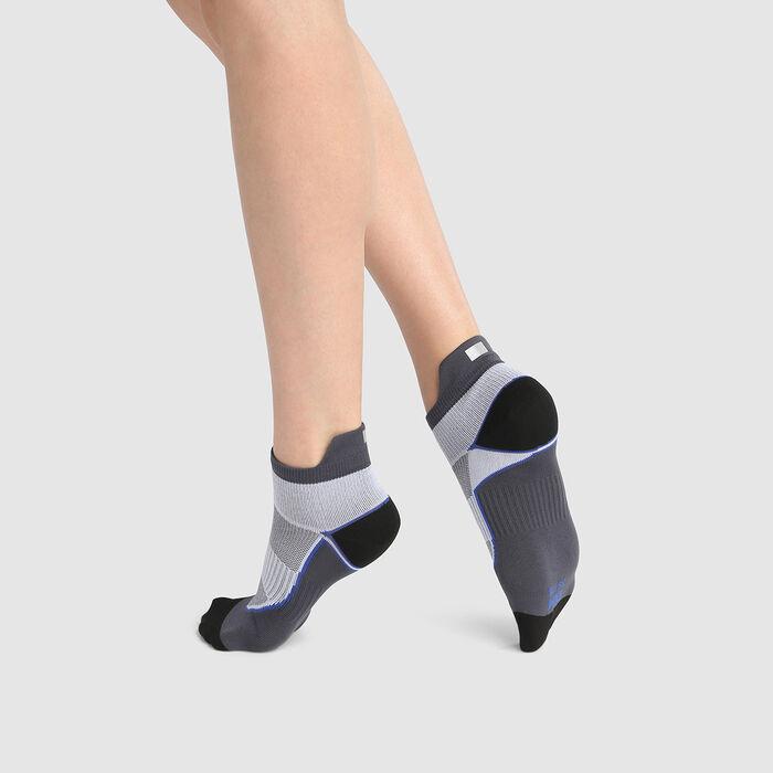 Chaussette femme en polyamide impact fort gris blanc Dim Sport, , DIM
