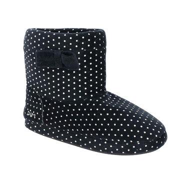 Chaussons bottes en velours noirs à pois blancs Femme-DIM