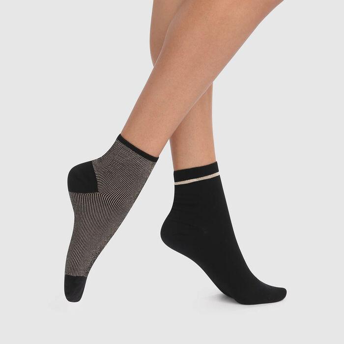 lot de 2 paires de socquettes fantaisies noir lurex or Coton Style, , DIM
