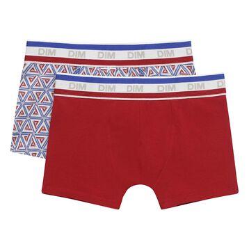 Lot de deux boxers pour garçon Gris Moyen Courchevel en coton stretch, , DIM
