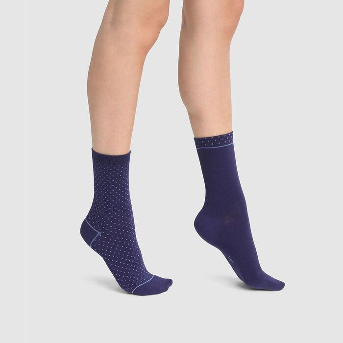 Lot de 2 paires de chaussettes coton motif plumetis bleu Coton Style, , DIM