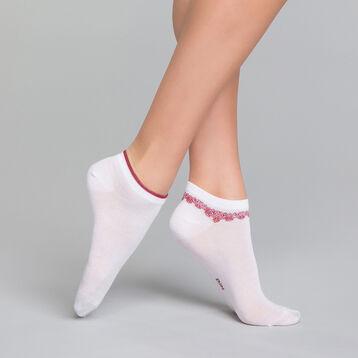 2 paires de socquettes femme coton blanches & motifs - Dim Coton Style, , DIM