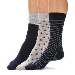 Lot de 3 chaussettes bleues et grises motif hivernal Homme-DIM