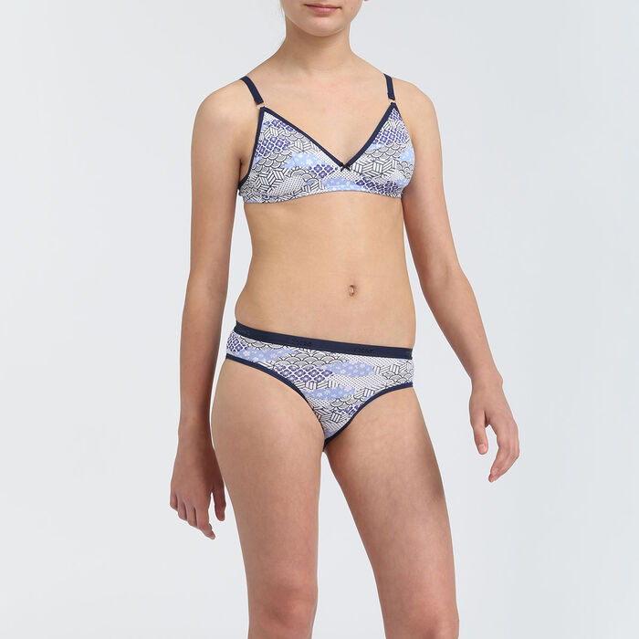 Soutien-gorge à mousses amovibles fille motif japon Bleu Les Pockets, , DIM