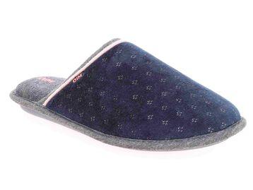 Chaussons pantoufles en velours bleu marine Femme-DIM