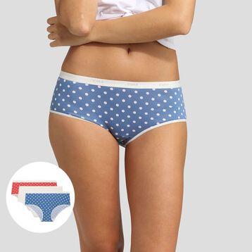 Lot de 3 boxers imprimé pois rétro Les Pockets Coton Stretch Dim, , DIM