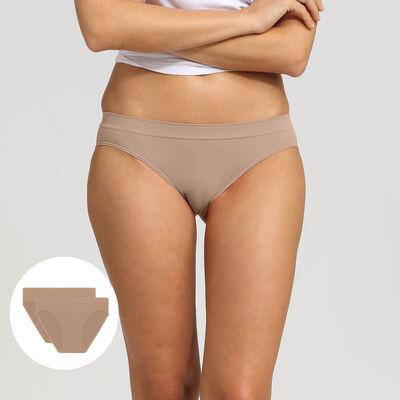 Lot de 2 culottes New Skin pour Femme en microfibre, , DIM