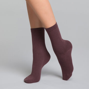 Chaussettes femme en coton violet prune - Dim Basic Coton, , DIM