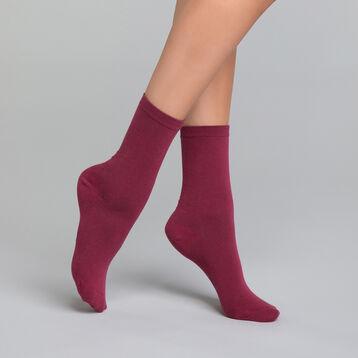 Chaussettes femme coton bordeaux - Dim Basic Coton, , DIM