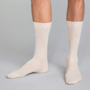 Mi-chaussettes beige chiné Homme en coton, , DIM
