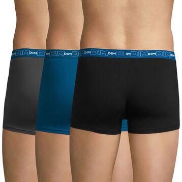 Lot de 3 boxers gris, bleu et noir Coton Stretch-DIM