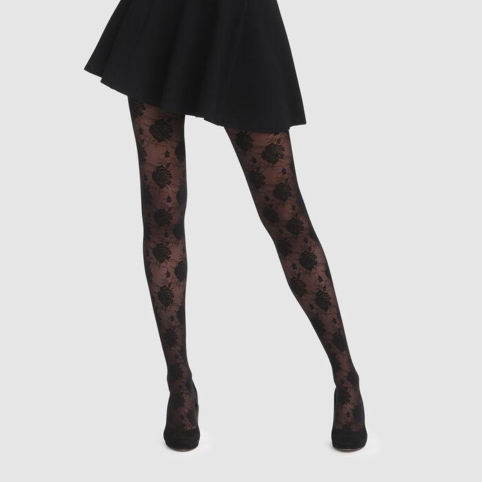 Collant fantaisie imprimé rose couture noir Style de Dim 20D, , DIM