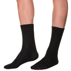 Mi-chaussettes noires en laine et cachemire Homme, , DIM