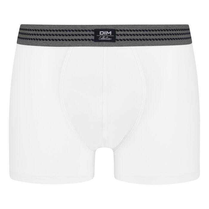 Boxer homme en coton stretch Blanc à ceinture grise Dim Élégant, , DIM