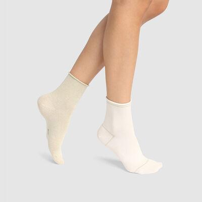 Lot de 2 paires de socquettes coton et lurex doré Ivoire Coton Style, , DIM