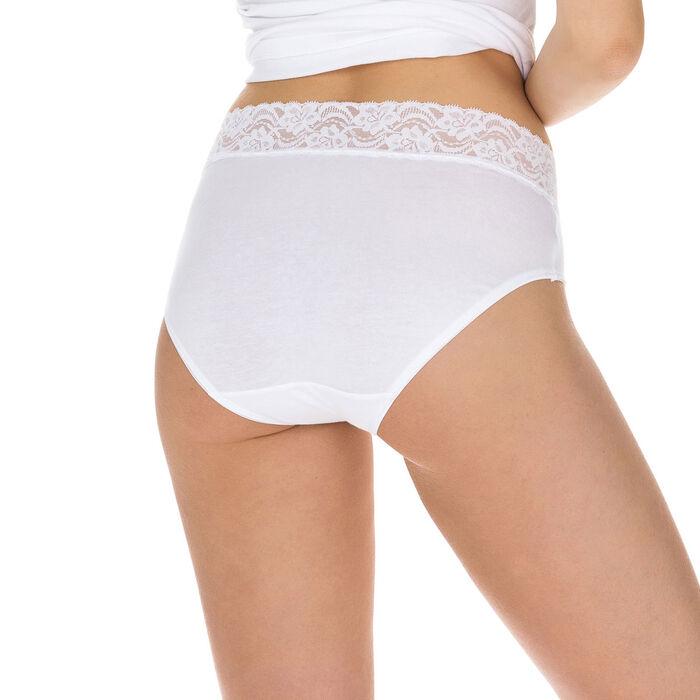 Lot de 3 (2+1 gratuit) slips taille haute blancs Coton Plus, , DIM
