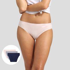 Lot de 3 culottes coton stretch bleu, gris et rose Les Pockets EcoDim , , DIM