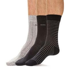 21adbc593f0 Lot de 3 chaussettes noires et anthracite pois rayures Homme-DIM