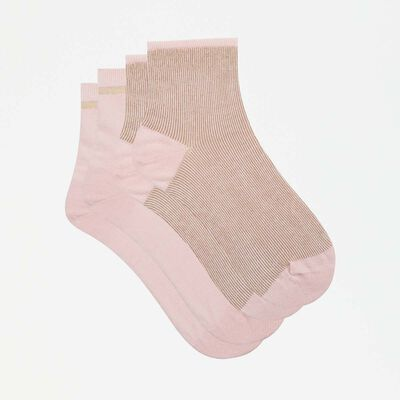 lot de 2 paires de socquettes fantaisies lurex rose dragée Coton Style, , DIM