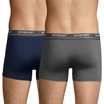 Lot de 2 boxers en microfibre Quick Dry gris et bleu – Dim Sport, , DIM