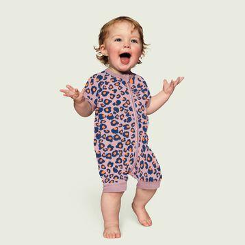 Barboteuse bébé fille zippée Imprimé Rose moucheté DIM Baby, , DIM