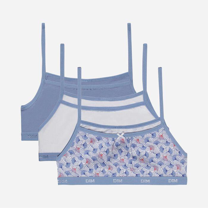 Lot de 3 brassières fille coton stretch imprimé wax Bleu Les Pockets, , DIM