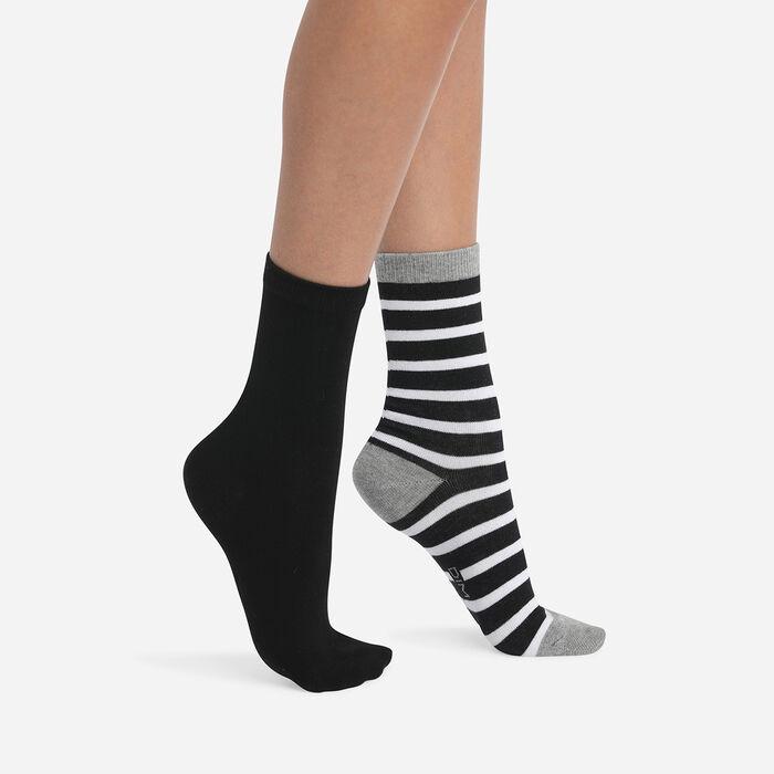 Lot de 2 paires de chaussettes femme à rayures Gris Clair Coton Style, , DIM