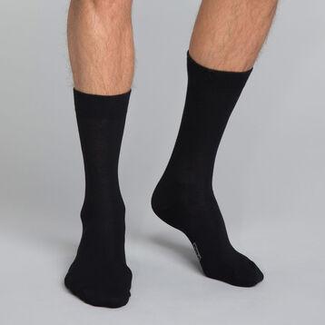 Mi-chaussettes coton X3 noir Homme Basic Coton, , DIM