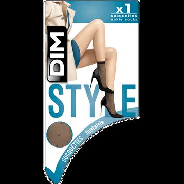 Socquettes noires transparentes motif plumetis Style 15D-DIM